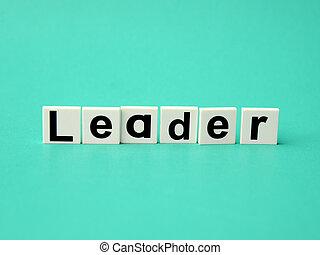 leader word written on blue background
