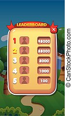 Leaderboard Mobile Game User Interface GUI Assets Vector Eps 10