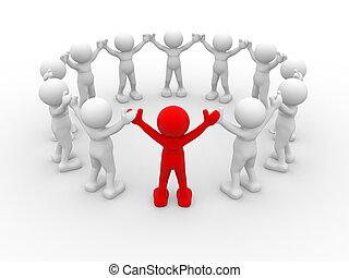 Leadership - 3d people - human character, leadership and...