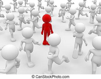 Leadership - 3d person- human character leadership and team...