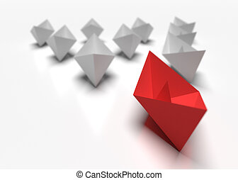 Leadership and business concept. One red leader ship