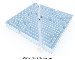 Leadership and business vision with strategy in corporate challenges and obstacles in a maze with men in a labyrinth with a clear solution shortcut path for success.