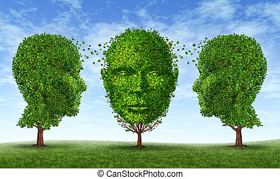 Leaderhip and learning concept as a business Training symbol and growth and education network with three trees in the shape of a human head exchanging content to acquire career skills for life success.