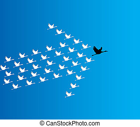 Leadership and Synergy Concept Illustration : A number of Swans flying against a deep blue sky background lead by a big dark leader swan