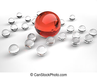Leadership and team - Lot of glass sphere surrounding a red...