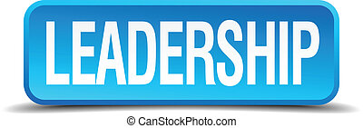 Leadership blue 3d realistic square isolated button