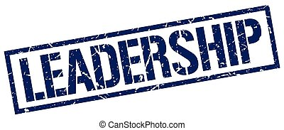 leadership blue grunge square vintage rubber stamp