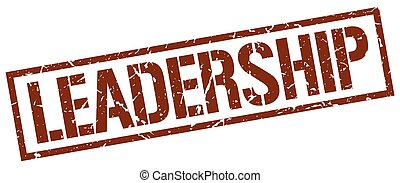 leadership brown grunge square vintage rubber stamp