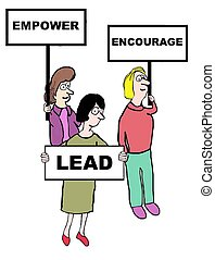 Leadership - Business cartoon of women holding signs that...