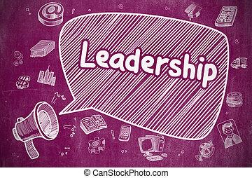Leadership - Cartoon Illustration on Purple Chalkboard.