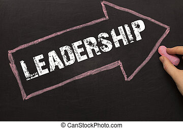 Leadership - Chalkboard with arrow on black