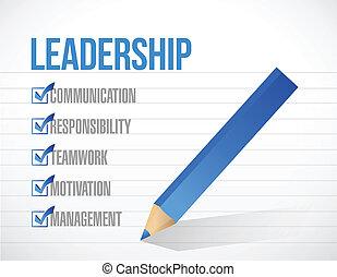 leadership check mark list illustration design background. over a notepad