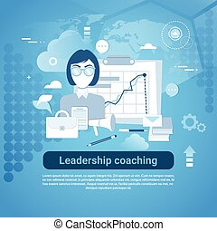 Leadership Coaching Web Banner With Copy Space On Blue...