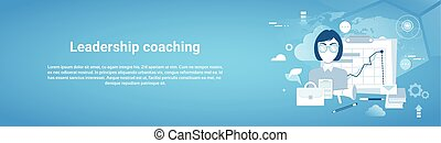 Leadership Coaching Web Horizontal Banner With Copy Space On...