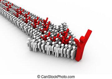 leadership concept, 3d illustration