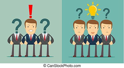 Leadership concept. Businesspeople with question marks
