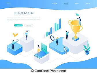Leadership concept - colorful isometric vector web banner