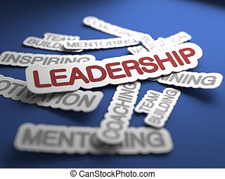 Leadership Concept. - Leadership Text on Blue Background...
