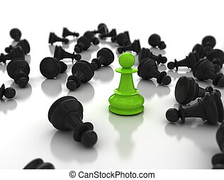 leadership concept green pawn standing