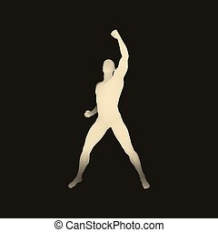 Leadership concept. Human with arm up. 3D Model of Man. Vector Illustration.