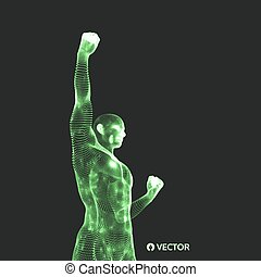 Leadership concept. Human with arm up. 3D Vector Illustration.