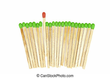 one matchstick standing out from other - leadership concept ...