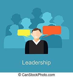 Leadership concept illustration. A Leader of team.