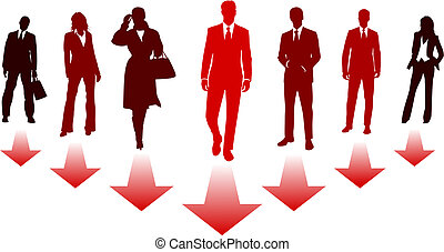 Concept illustration about leadership by a team of business men and women silhouettes that follow the same direction as the leader
