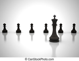 Leadership concept illustration - chess king in front