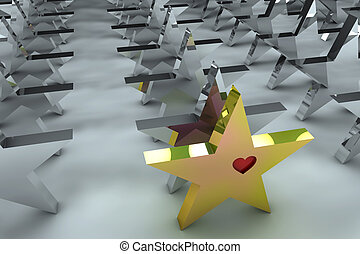 Leadership concept in 3d - Leadership concept with golden...