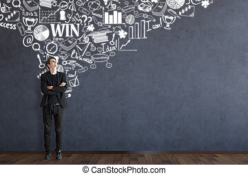 Leadership concept - Young caucasian man looking up at...