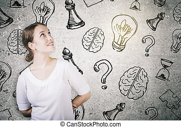 Leadership concept - Portrait of cheerful young woman on...