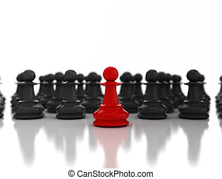 Leadership concept, red chess pawn standing out from the crow