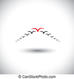 leadership concept vector - birds flying forming an arrow. This graphic also represents manager & employees, being successful executive, leader & followers, setting example, being different, daring