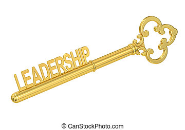 Leadership concept with golden key, 3D rendering