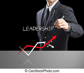 Leadership concept with growth arro - Business man writing ...