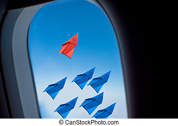 leadership concept with paper plane .View from Window airplane