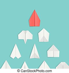 Leadership concept with red paper airplane leading among...