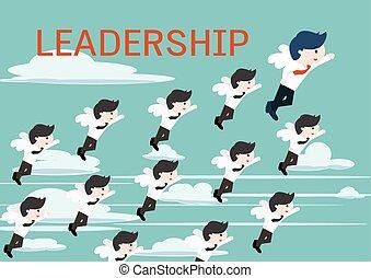 Leadership cute business man