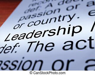 Leadership Definition Closeup Showing Achievement