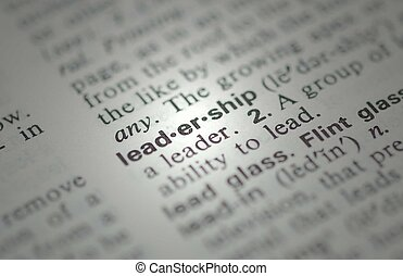 Leadership definition from dictionary showing shallow depth of field