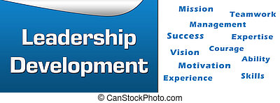 Leadership development concept image with text and related wordcloud.