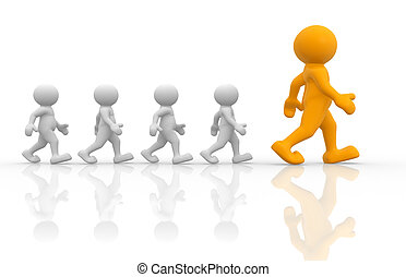 Leadership - 3d people- human character- going people. 3d...