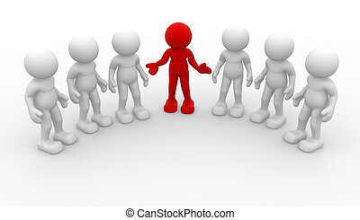 Leadership - 3d people -human character, group of person....