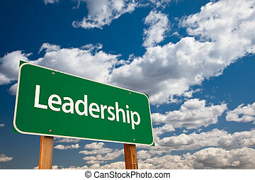 Leadership Green Road Sign with Copy Room Over The Dramatic...