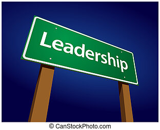 Leadership Green Road Sign Illustration on a Radiant Blue...