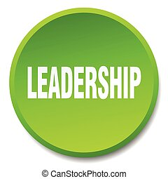 leadership green round flat isolated push button