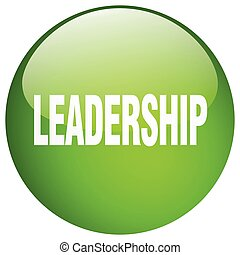 leadership green round gel isolated push button