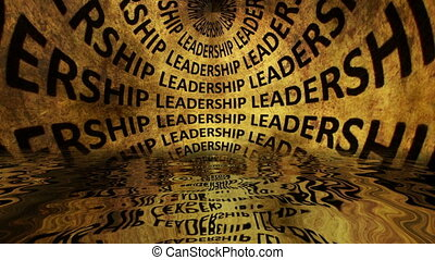Leadership grunge text reflected in water