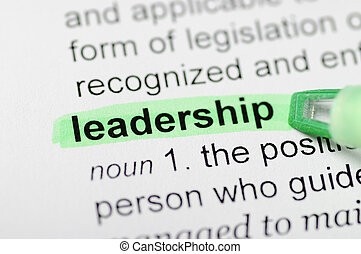 Leadership highlighted in dictionary
